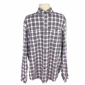 Sean John Mens L Button Up Flannel Shirt Original Cotton Plaid LS Pockets Purple