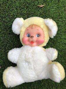 "Vintage Rushton Yellow Teddy Bear Plush Stuffed Animal Rubber Happy Face 9"""