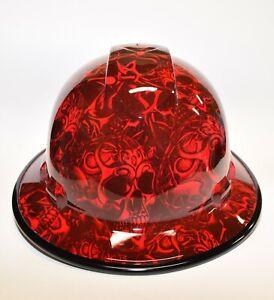 Custom Wide Brim Hard Hat Hydro Dipped in Candy Apple Red Tribal Skulls w/ BG