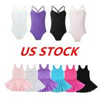 US Girls Ballet Dress Kids Shoulde Straps Unitard Gym Tutu Skirts Dance Costumes