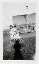 OLD PHOTO FARM FAMILY CHILDREN BARREL WINDMILL BARN PHOTOGRAPHERS SHADOW 1920S