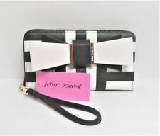 Betsey Johnson Bow Accent Black & White Zip Around Wallet Wristlet Clutch