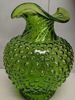 "Vintage Fenton USA Vase Green Hobnail 8"" tall Art Glass"
