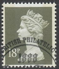GB Stamps 1988 Machin Definitive 18p Deep Olive Grey, 2 Bands, VFUsed, S/G X1010