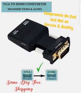 VGA INPUT to HDMI OUTPUT Video Audio Converter Cable Adapter 1080 For TV PC DVD
