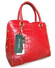 ALC® SIENA, 100% Genuine Italian Leather Croc Dome Tote - Red