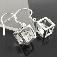 Earrings Genuine Real 925 Sterling Silver S/F Diamond Simulated Dice Design