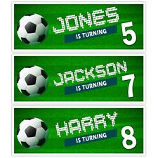 X 2 PERSONALISED FOOTBALL THEME KIDS NAME BANNERS PARTY DECORATIONS BOYS CHILDS