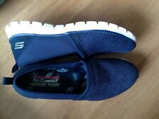 Skechers Air-Cooled memory foam slip on shoes/trainers size 6 EU 39 navy blue