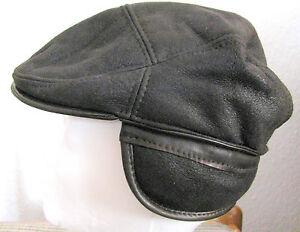 Herren Leder+ 100% Lammfell Schieber-Mütze mit Ohrenklappen