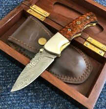 ALISTAR SUPERB DAMASCUS STEEL FOLDING/POCKET KNIFE WITH WOODEN GIFT BOX (0590-2