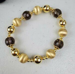 Chainmaille bracelet Handmade bracelet with Brown gemstone Italian Jewelry.Made in Italy. Smoky Quartz bracelet with 18 Kt yellow gold