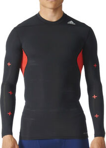 adidas Tech-Fit Recovery Mens Long Sleeve Compression Top - Black