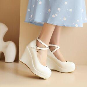 Women's Platform Sandals Cross Strap Wedge Shoes Round Toe Casual High Heels Pum