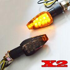 2x Universal Motorcycle Black LED Turn Signal light Indicator Amber Sport Bikes