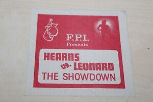 Sugar Ray Leonard vs. Thomas Hearns unused backstage pass - Boxing FREE SHIPPING