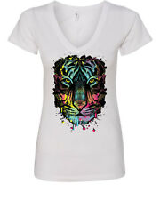 Neon Dripping Tiger Face V-Neck T-Shirt Wildlife Rave Music