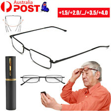 6Pcs +1+1.5+2+4 Strength Reading Glasses With Foldable Metal Tube Case Men Wome