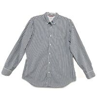 Banana Republic Slim Fit Long Sleeve Shirt Mens L Gray White Stripe Button Front