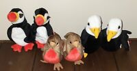 Lot of 6 TY Beanie Babies Birds 2 Puffers 2 Baldys & 2 Earlys All w/ Tags