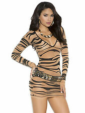 Sheer Zebra Print Long Sleeve Mini Dress