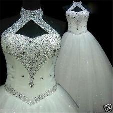 Bling Beaded Tulle Wedding Dress White/Ivory Bridal Ball Gown Custom Size 4 -18+