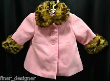 Guess Baby Toddler Girls Pink Faux leopard Fur Coat lined winter Jacket 3m - 6m