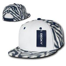 Navy Blue / White Zebra Animal Print Vintage Snapback Classic Flat Bill Hat Cap