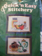 NEEDLEPOINT  STITCHERY KIT 100% WOOL 2 PICTURES TEA POTS POPCORN #210 DONUTS 5X7