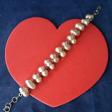 """Beautiful Silver Bracelet With Freshwater Pearls 24.9 Gr.8"""" Inc Long In Gift Box"""