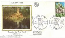 1978//FDC SOIE 1°JOUR!!**EUROPA-FONTAINE DU PARC FLORAL**TIMBRE Y/T 2009