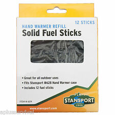 12 Pack Solid Charcoal Fuel Hand Warmer Refill Sticks Emergency Cold Survival
