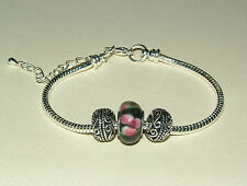 SILVER PLATED WRISTBAND BRACELET GLASS METAL BEADS BLACK PINK can ADD more BEADS