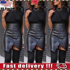 Womens Ladies High Waist Pencil Mini Skirt Wet Look Faux Leather Mini Skirts