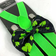 Suspender and Bow Tie Adults Men Lime Green Clovers Formal Wear Accessories