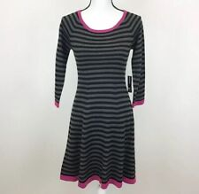 New Directions Striped Sweater Dress Gray Black Pink Size Small NWT New $110