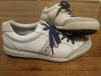 Ecco Hybrid Men's White Leather Spikeless Golf Shoes Blue Sole EUR 46 US 12-12.5