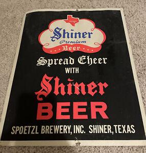 Vintage Shiner Beer Cardboard Advertising Sign Texas ORIGINAL