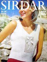 "Sirdar Crochet Pattern - SUMMER FLOWERS - 34-38""Bust Lady's Top in 4 Ply - VGC"