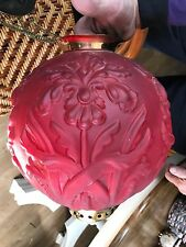 Ruby Cranberry Red Satin Glass Oil Lamp Globe Shade GWTW Banquet Parlor