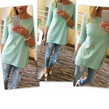 Fashion Womens Loose Pullover T Shirt Long Sleeve Cotton Tops Blouse Dress T1