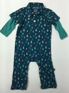 KicKee Pants Baby Boys' Print Polo Romper in Peacock Rain Drops Size 3-6 Months