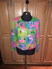 VTG '99 Michael Simon Beaded Embroidered Flamingo Sweater Sz M GORGEOUS