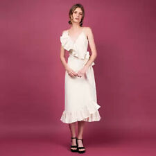 ZOO Label Off White Linen Spaghetti Ruffled Wrap Midi Dress Small