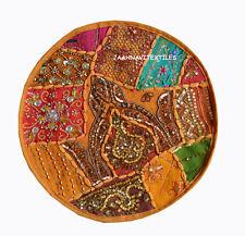 "INDIAN NEW HOME HANDMADE ETHNIC ROUND ZARI WORK 16X16"" CUSHION COVER DECOR ART"