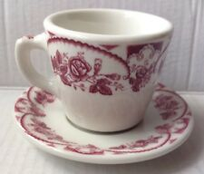 1950s 1960s McNicol Restaurant Ware Coffee Cup And Saucer, Rose Garden Print