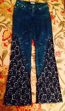 CACHE HIGH WAIST BLUE JEANS W BLACK LACE, BEADS, SEQUIN ON LEGS SIZE XS 0 2