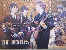 Mint Mongolian The Beatles Stamp Block Sheet 2013