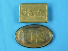 Set of 2 Vintage Replica of US Civil War Belt Buckle Copper Brass