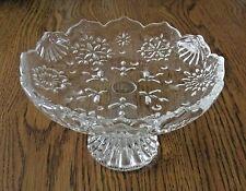 LEAD CRYSTAL GLASS STEMMED ROLLED EDGE BOWL DAISY PINWHEEL   # 624